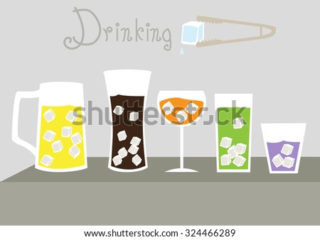Set of cool glass of iced,vector illustrations