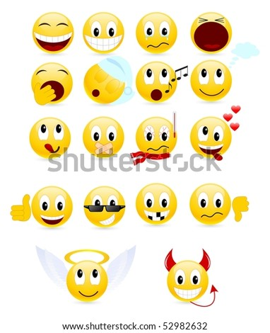Set of cool smiles. Vector illustration, isolated on a white. - stock vector
