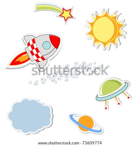 set of cool space stickers. vector illustration