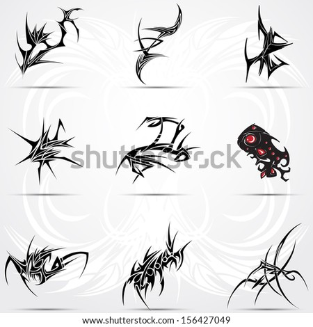 Set of cool 9 tribal tattoos - stock vector