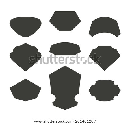 Set of cool vector empty modern frames for badges and labels. - stock vector