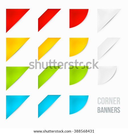 Set of Corner Banners. 15 Corner Banners. Corner Ribbons. Side Banners.  - stock vector