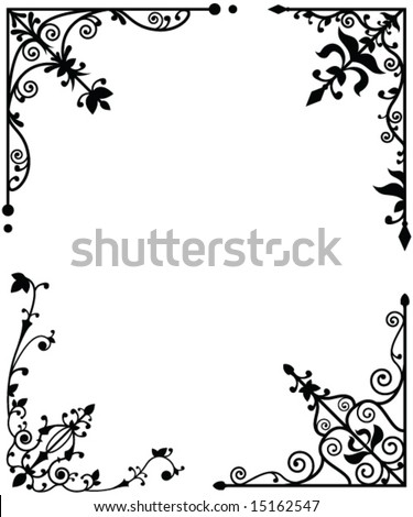 Set of 4 corner elements - stock vector