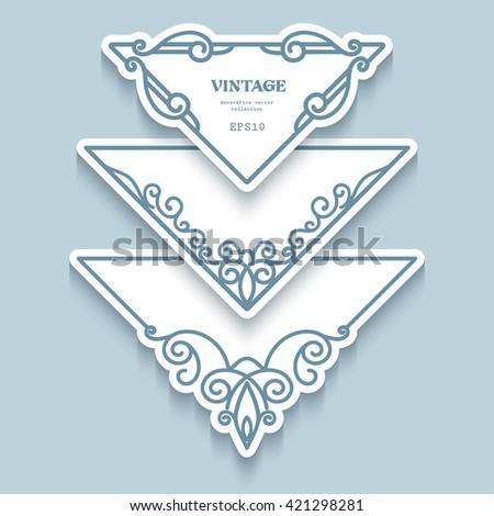 Set of corner labels, cutout paper frames with flourish decoration, vintage ornamental calligraphic vignettes - stock vector