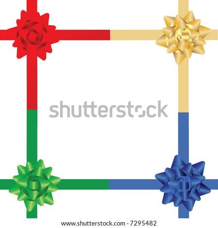 set of 4 corner ribbon bow - stock vector