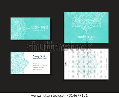 Set corporate business cards calendars 2016 stock photo photo set of corporate business cards and calendars 2016 for company resort and spa zentangle colourmoves