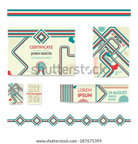Template design pocket calendar 2016 patterns stock vector set of corporate business stationery brochure templates abstract geometric background for flyer report yadclub Image collections