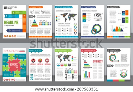Set of corporate business stationery brochure templates with infographics elements. Abstract geometric background for flyer, report, presentation or business document design. Vector illustration - stock vector