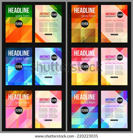 Set of corporate business stationery templates. Abstract brochure design. Modern back and front flyer backgrounds. Vector illustration. - stock vector