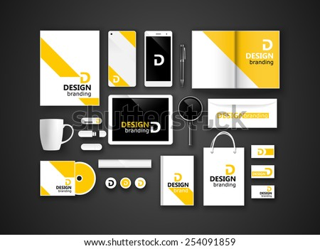 Set of corporate identity and branding on dark background. Vector illustration - stock vector