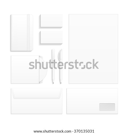 Set Of Corporate Identity And Branding Stationery Templates. Business card, Pen, CD, DVD, Envelope, Notebook. Illustration Isolated On White Background. Mock Up Template Ready For Your Design. Vector - stock vector