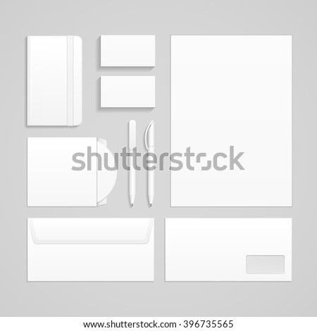 Set Of Corporate Identity And Branding Stationery Templates. Business card, Pen, CD, DVD, Envelope, Notebook. Illustration Isolated On Gray Background. Mock Up Template Ready For Your Design. Vector - stock vector