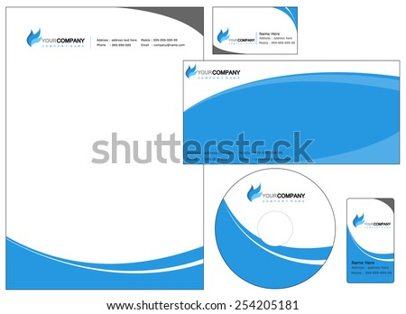 Set of corporate identity items, easy to customize letterhead envelope CD, DVD cover and business cards - stock vector