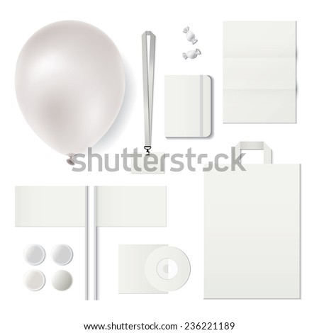 Set of corporate souvenirs.Identity templates. Ballon, badge, bag, small flag, cd, pocketbook isolated on white background. Vector illustration. . Vector illustration - stock vector