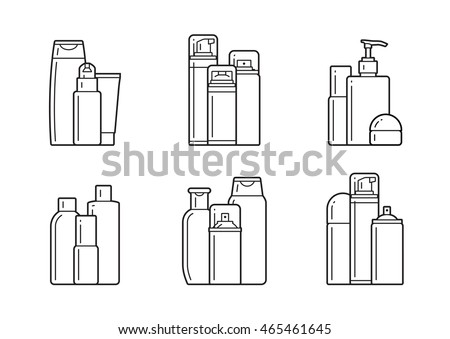 set of cosmetic icons on a white background.