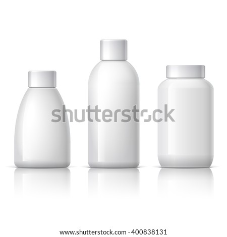 set of cosmetic products on a white background. Cosmetic package collection for cream, soups, shampoo. vector illustration. - stock vector
