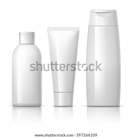 set of cosmetic products on a white background. Cosmetic package collection for cream, soups, foams, shampoo. vector illustration. - stock vector
