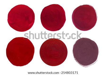 Set of cosmetic texture brush strokes isolated on white. Vector gouache paint texture. Make up colors. - stock vector