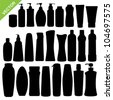 Set of cosmetics bottle silhouettes vector - stock photo