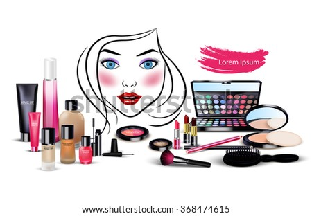Set of cosmetics with beautiful woman face on isolated background.vector