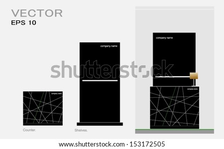 set of counter with shelves on black - stock vector