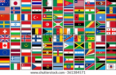 Set of 110 country national flags.