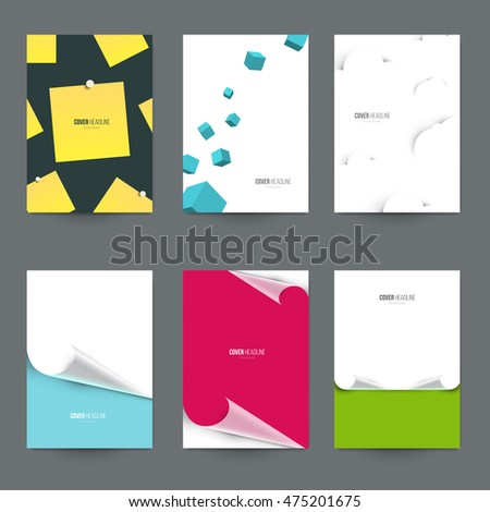 Set of covers for branding presentation. Template for book, brochure, poster, flyer, banner, placard, cards. A4 size, vector illustration.