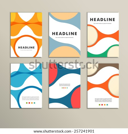Set of covers with vector abstract figures - stock vector