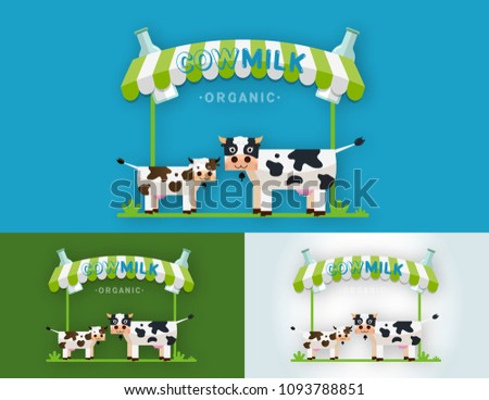 Set Cow Milk Farm Logo Design Stock Vector 1093788851 Shutterstock