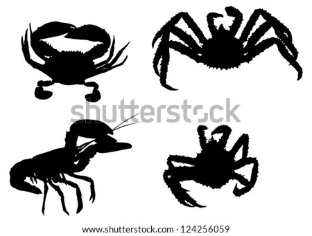 set of crab silhouettes isolated on white background