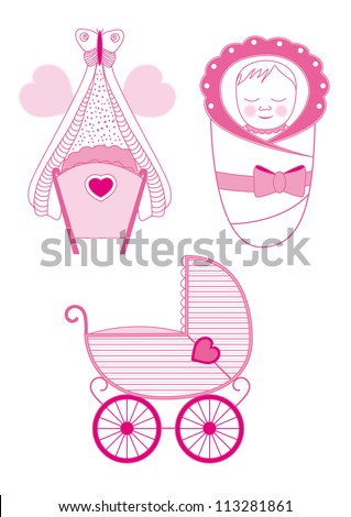 Set of Cradle, Pram and Blanket Isolated on White Background - vector illustration - stock vector