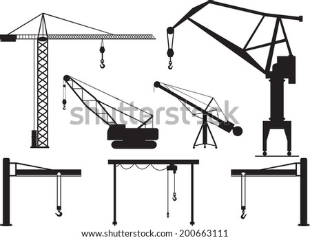 Set of cranes illustrated on white - stock vector