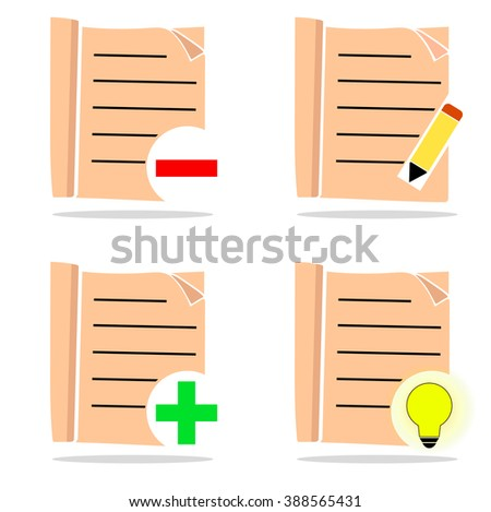 Set of cream colored icons, editing - stock vector