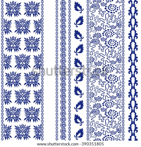 Set of creative bohemian borders. Damask seamless pattern, leaves stripe, gypsy and ethnic motifs, fantasy doodles. Boho textile collection. Dark blue on white. - stock vector