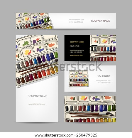 Set of creative business cards design. Paints watercolor. Vector illustration - stock vector