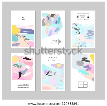 Set of creative cards and posters with geometric outline shapes and crystals. Trendy hipster logotypes. Polygonal icons with artistic colored background. Vector. Isolated. - stock vector