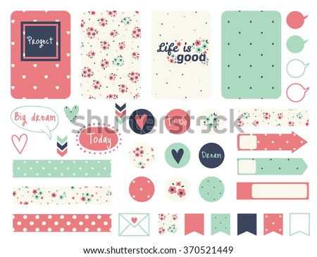 Set of creative cards design, tape, stickers, labels. Vector design templates for journal cards, scrapbooking cards, greeting cards, gift cards, patterns, blogging. - stock vector