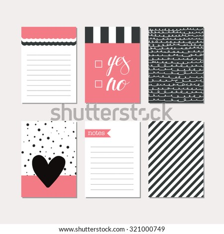 Set of creative cards design. Vector design templates for greeting cards, gift cards, journal cards, scrapbooking cards, patterns, art decoration etc. - stock vector