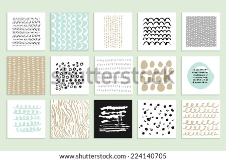 Set of 15 creative cards. Hand Drawn textures made with ink. Vector. Isolated. - stock vector