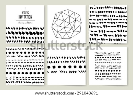 Set of creative cards. Hand Drawn textures made with ink. Vector. Isolated.