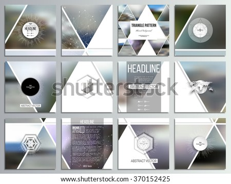 Set of 12 creative cards, square brochure template design. Abstract multicolored background of blurred nature landscapes, geometric vector, triangular style illustration. - stock vector