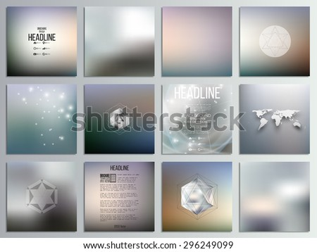 Set of 12 creative cards, square brochure template design, geometric backgrounds set, abstract blurred colorful vector patterns. - stock vector