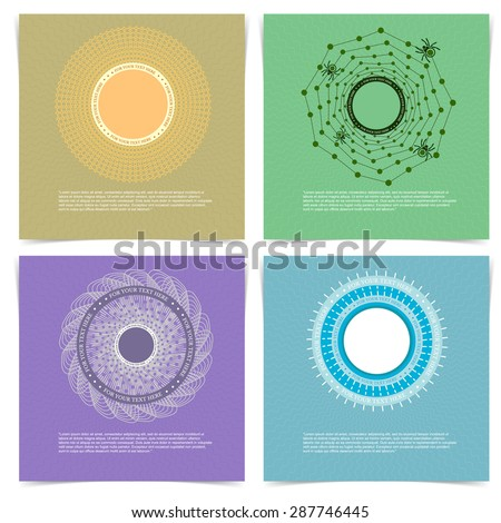 Set of Creative Cards with Hand Drawn Spirograph Circle Frame. Minimalistic Design for Placards, Posters, Flyers and Banner Designs. - stock vector