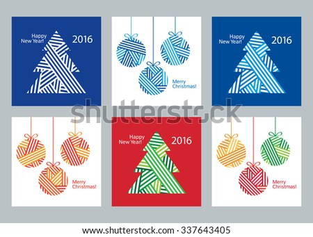 Set of creative 6 Christmas cards. Happy New Year 2016. Merry Christmas. Christmas Posters set. Template for Greeting Congratulations, Invitations. Vector illustration.  - stock vector