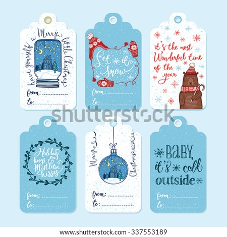 Set of 6 creative Christmas gift tags. Christmas ornaments, knitted winter hat and mittens, funny winter bear in knitted hat and scarf with peppermint lollipop, mistletoe wreath. Handwritten lettering - stock vector