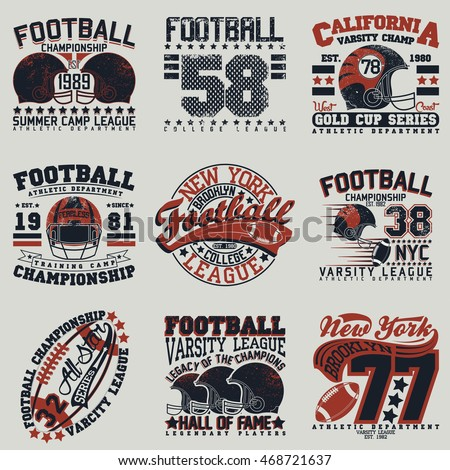Set creative grunge tshirt graphic designs stock vector for College football t shirt designs