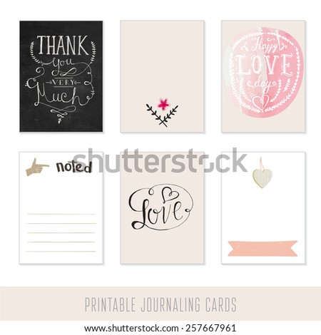 Set of 6 creative journaling cards and motivational poster. Hand Drawn textures made with ink and watercolor.   - stock vector