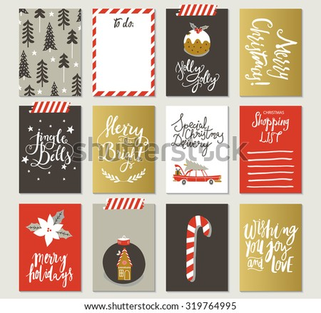 Set of creative 12 journaling cards. Christmas Posters set. Vector illustration. Template for Greeting Scrapbooking, Congratulations, Invitations. - stock vector