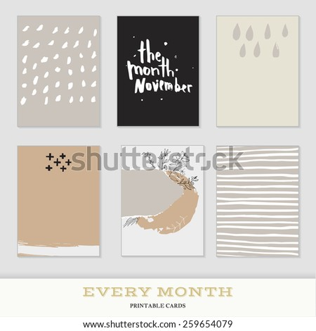 Set of 6 creative journaling cards. Hand Drawn textures made with ink. Every Month Collection - November - stock vector