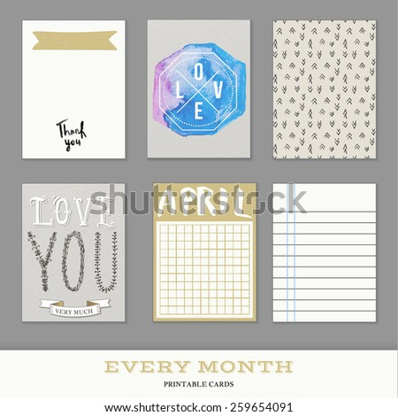 Set of 6 creative journaling cards. Hand Drawn textures made with ink. Every Month Collection - April - stock vector
